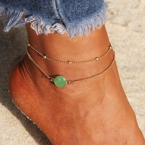 Jewelry - PREVIEW Boho Multi Chain Green Opal Ankle Bracelet